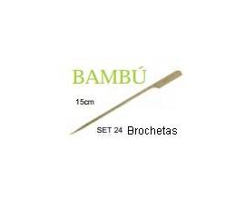 Set 24 brochetas de Bambú de 15 cms.
