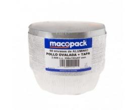 Envase 1/2 pollo aluminio 200x37mm.(100 Uds)