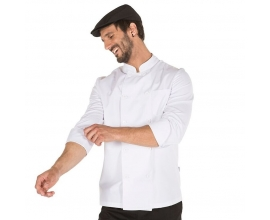 Chaqueta de cocinero blanca con manga larga.